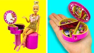 DIY BARBIE HACKS AND CRAFTS: How To Make Makeup Table For Barbie Doll