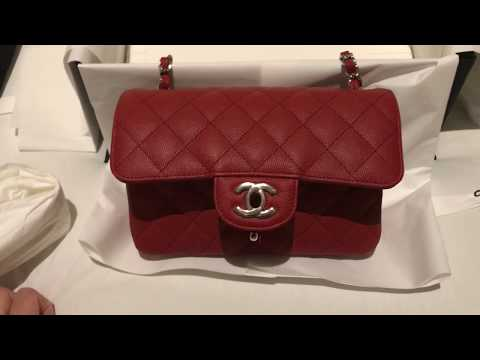 Chanel Red Mini Flap Unboxing - Cruise Collection 2018 48e7558157fa6