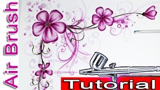 Airbrush Painting Tutorials For Beginners With Stencils For Wall Painting Flowers And Floral Design