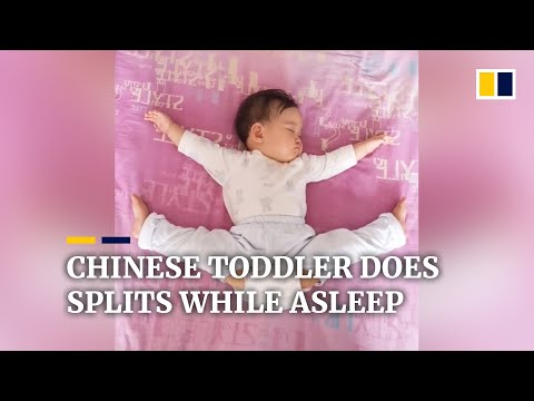 Chinese toddler does splits while asleep