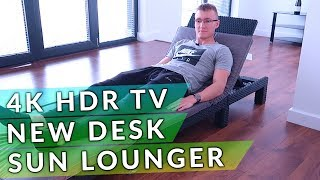 Sun Lounger Unboxing, 4K HDR TV & New Desk - Moving Vlog #4