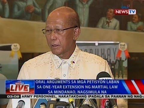 NTVL: Oral arguments sa mga petisyon vs one-year extension ng martial law sa Mindanao, nagsimula na