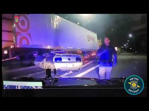 SMH: Stolen Mustang Fleeing Detroit, Michigan State Police Drives Under Semi Truck