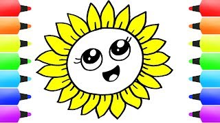 Cute Flowers Coloring Pages Easy How To Draw Flower Video & Coloring Book For Children