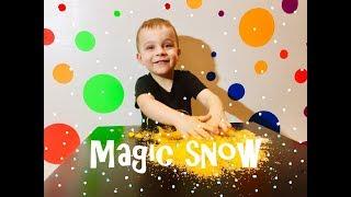 Волшебный снег распаковка Опыты для детей Делаем искусственный снег дома Цветной снег
