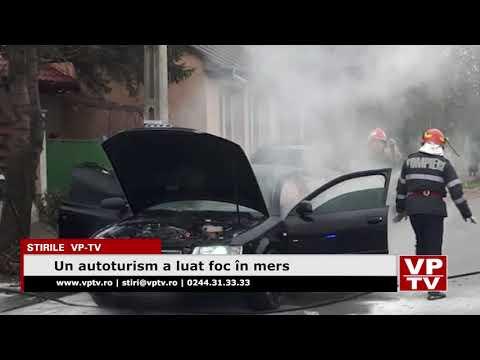 Un autoturism a luat foc în mers