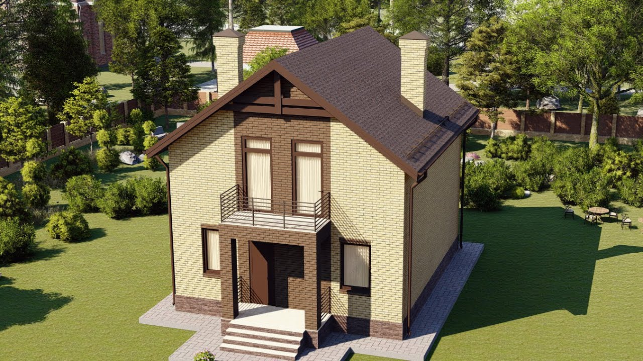 Проект дома 100-E, Площадь дома: 100 м2, Размер дома:  9,2x7,9 м