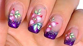 Смотреть онлайн Дизайн ногтей с помощью акварельных красок