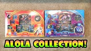 OPENING BOTH POKEMON SUN AND MOON ALOLA COLLECTION LUNALA SOLGALEO BOXES!