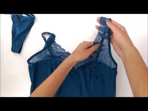 Elegantní košilka Miamor chemise tyrkys - Obsessive