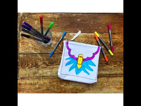 Youtube Video for Doodle Designer Accessory Bag - Create your own!