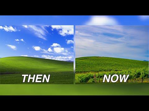 Le paysage du fond d'écran de Windows XP en 2020