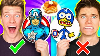 PANCAKE ART CHALLENGE Hero Edition & Learn How To Make Avengers vs Star Wars Disney Plus Art