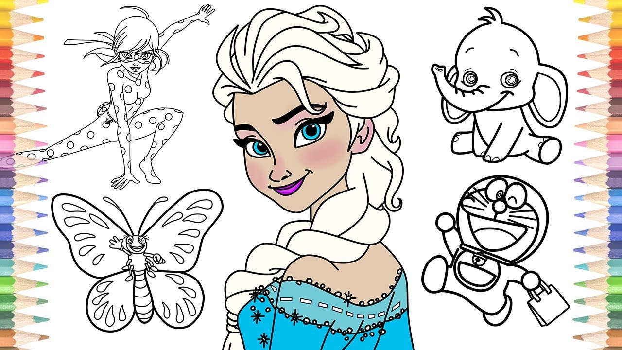 How to Draw Frozen Elsa Ladybug Butterfly Elephant Doraemon Coloring Pages for Kids Learn Colors