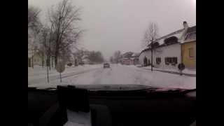 Fahrt Purbach - Neusiedl bei Schneetreiben 18.01.2013