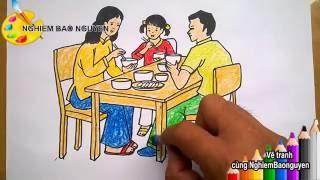Vẽ gia đình bé đang ăn cơm/How to draw Family is eating