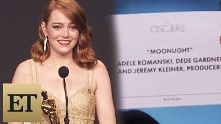 <b>Emma Stone</b> Reacts To Best Picture Mistake Between La La Land & Moonlight Backstage At The Oscars