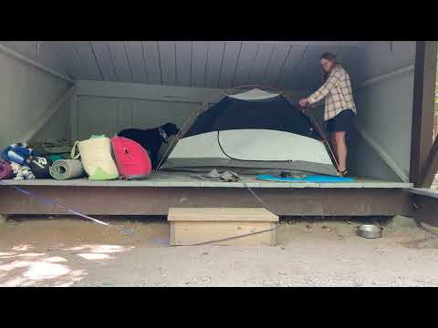 Setting up the tent in Elm lean-to