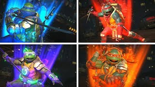 Injustice 2 - TMNT Vs TMNT (Ninja Turtles) All Intro Dialogue/All Clash Quotes, Super Moves