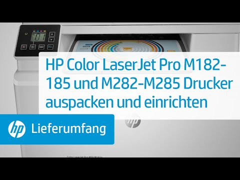 So packen Sie die Drucker der Serie HP Color LaserJet Pro M182-185 und M282-M285 aus und richten sie ein
