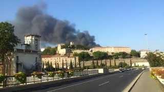 Пожар в шинном магазине на юге Франции