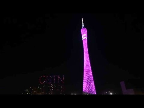 CGTN new year drone live show in Guangzhou at midnight