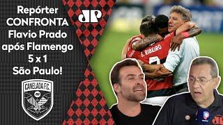 'Ué, o Renato Gaúcho não era ruim?'; repórter alopra Flavio Prado após goleada do Flamengo