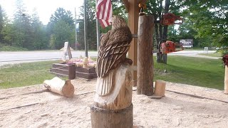 Chainsaw Carving An Eagle With Husqvarna Chainsaws!!