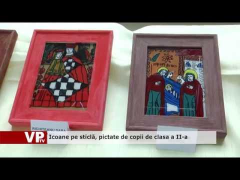 Icoane pe sticlă, pictate de copii de clasa a II-a