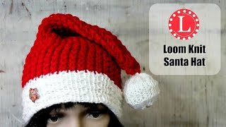 LOOM KNITTING SANTA HAT On A Round Loom. Christmas Holiday Santa Hats Pattern | Elf Hat By Loomahat