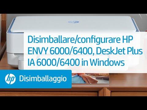 Come disimballare e configurare la stampante delle serie HP ENVY 6000/ENVY Pro 6400/DeskJet Plus Ink Advantage 6000/6400 da Windows
