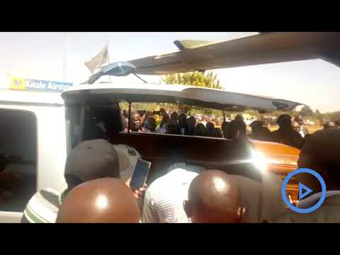 The body of the late Yvonne Nambia Wamalwa arrives in Kitale for burial at Milimani home on Saturday