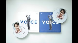 Gambar cover Unboxing Onew's 온유 1st Mini Album 'VOICE' 보이스 [Blue+White Versions]