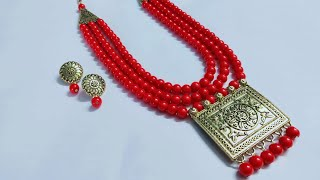 How To Make 3 Layer Glass Beads Necklace।। Easy Three Strand Beaded Necklace