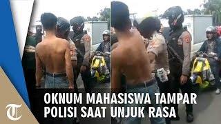 Video Mahasiswa Tantang dan Tampar Polisi saat Ditertibkan ketika Unjuk Rasa di Makassar
