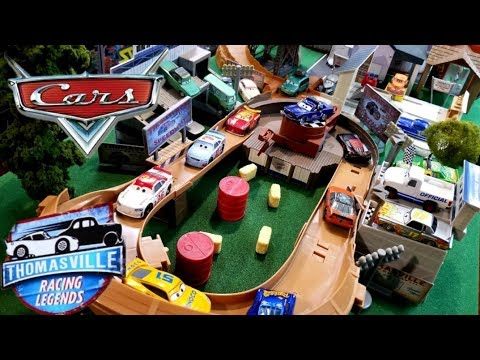 DISNEY CARS MEGA THOMSAVILLE TOWN PLAYSET! BEST CITY EVER! NEW COMPLETE RACING LEGENDS COLLECTION!