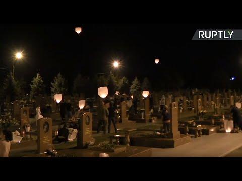 Запуск фонариков на кладбище «Город ангелов» в Беслане — LIVE