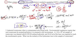 AP Chemistry   Side 2 - Stoichiometry 5 Worksheet Review