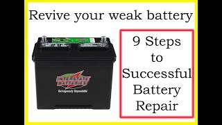 Restore deep cycle lead acid battery. Revive dead sulphated RV car marine batteries