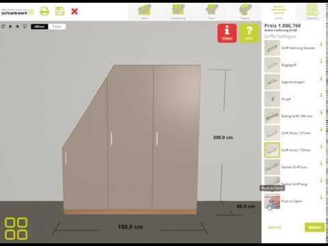 """schrankwerk.de - Der 3D-Konfigurator für Möbel nach Maß - Schritt 5 """"Griffe"""""""