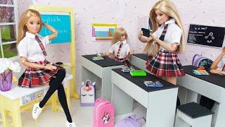 Barbie Dolls School Morning - Life In  A School DIY Dollhouse.