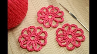 Вязание простого ЦВЕТОЧКА крючком  Lesson crochet flowers