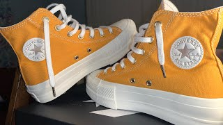Elevated Gold Platform Chuck Taylor (Sunflower Gold) ! 🔥🍊 Review & Try-on