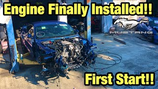 Rebuilding My Totaled Wrecked 2018 Ford Mustang GT From Copart Salvage Auction Installing The Engine