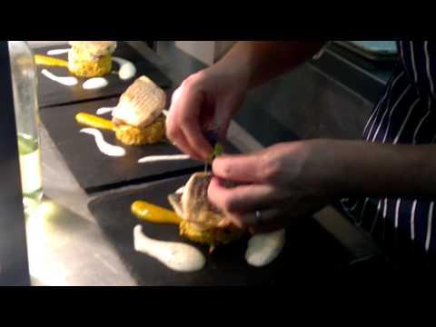 Plating the new menu sea bream dish(slate)