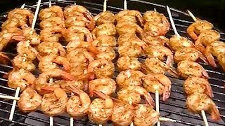 Making Shrimp Skewers / Kabobs / Kebabs On A Charcoal Grill With Old Bay Seasoning