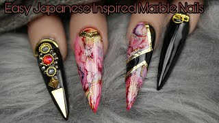 Quick And Easy Marble Nailart | Japanese Inspired Gel Nails