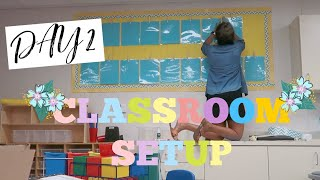 SETTING UP MY FOCUS WALL, LIBRARY TREE DECOR & STUDENT WORK WALL | CLASSROOM SETUP DAY 2