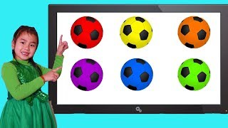 Jannie Plays and Learns Colors with Soccer Balls