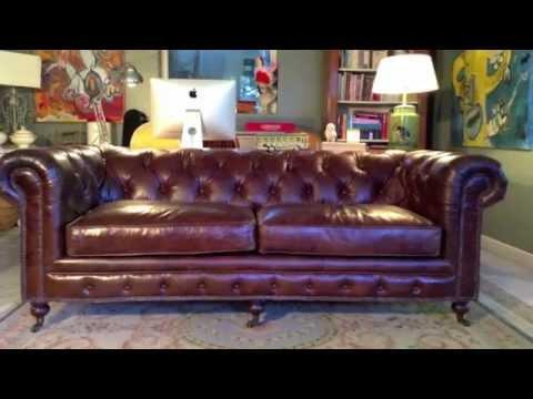 Sofa chester de cuero envejecido